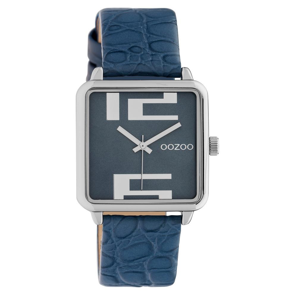 OOZOO C10366 Horloge Timepiece Collection Dark Blue Croco 30 mm