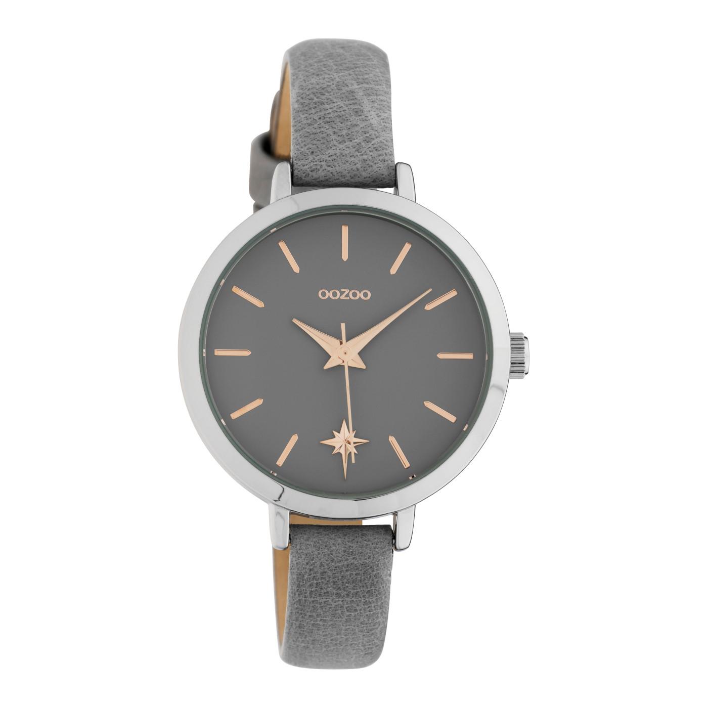 OOZOO C10385 Horloge Timepieces staal/leder Paloma Grey 38 mm