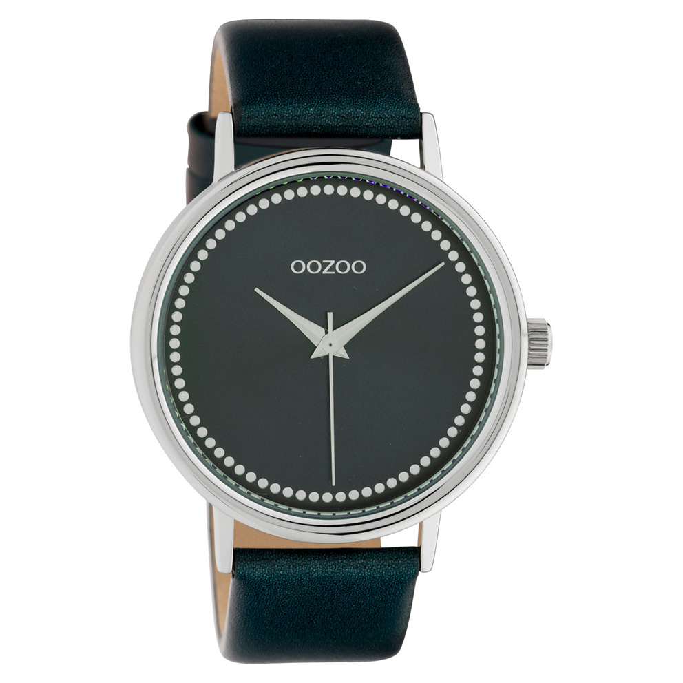OOZOO C10427 Horloge staal leder Shiny Darkgreen 42 mm