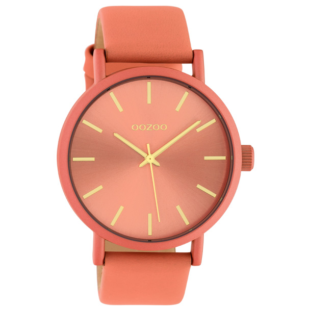 OOZOO C10447 Horloge Timepieces aluminium-leder peachpink 42 mm