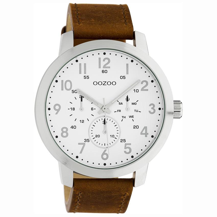 OOZOO C10505 Horloge Timepieces staal/leder brown-white 45 mm