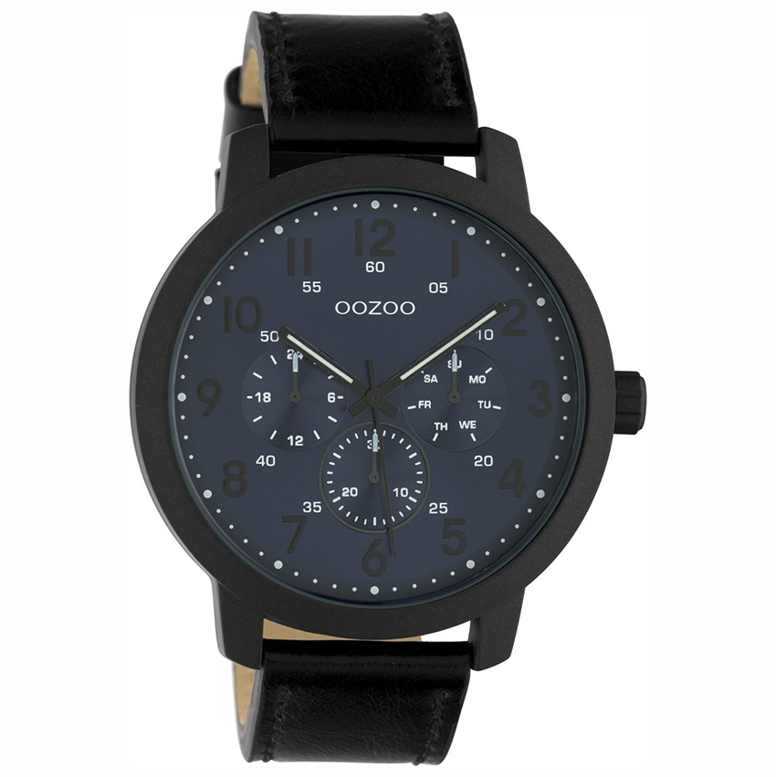 OOZOO C10509 Horloge Timepieces staal/leder black-deepblue 45 mm