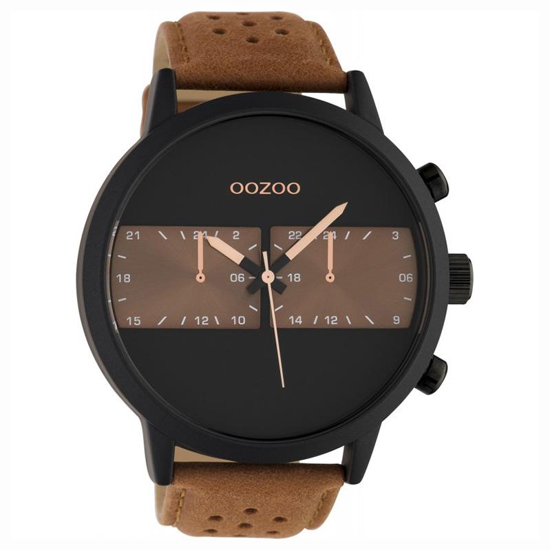 OOZOO C10518 Horloge Timepieces staal/leder brown-black 50 mm