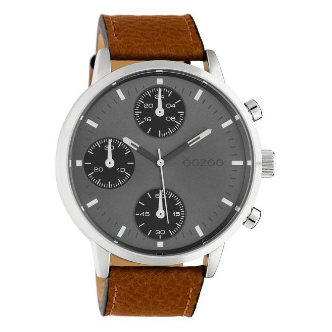 OOZOO C10530 Horloge Timepieces staal/leder bruin-grijs 50 mm