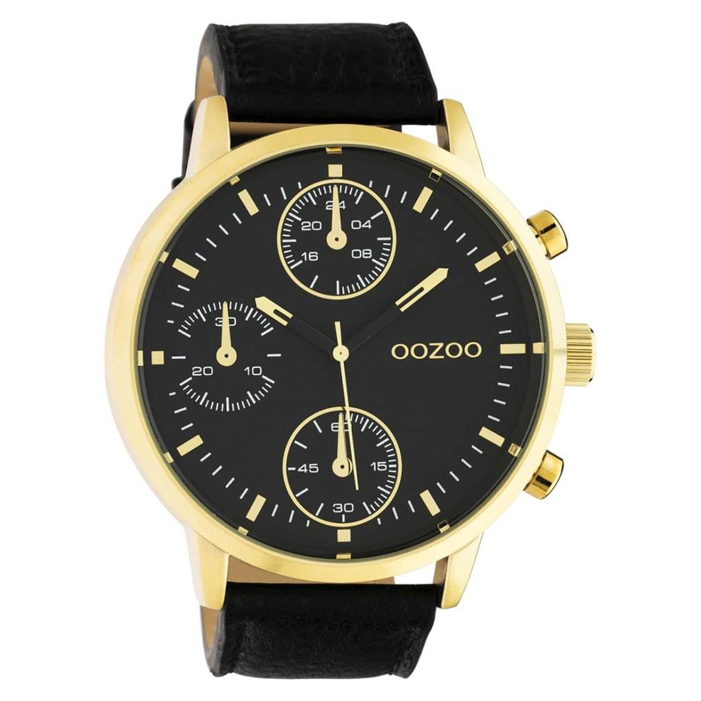 OOZOO C10531 Horloge Timepieces staal/leder goudkleurig-zwart 50 mm