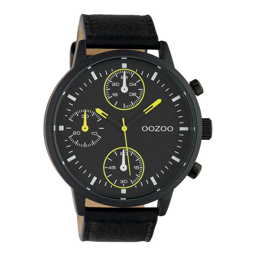 OOZOO C10534 Horloge Timepieces staal/leder geel-zwart 50 mm