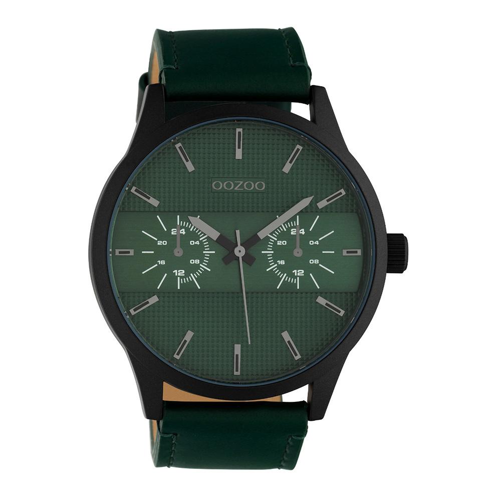 OOZOO C10537 Horloge Timepieces staal leder zwart groen 48 mm