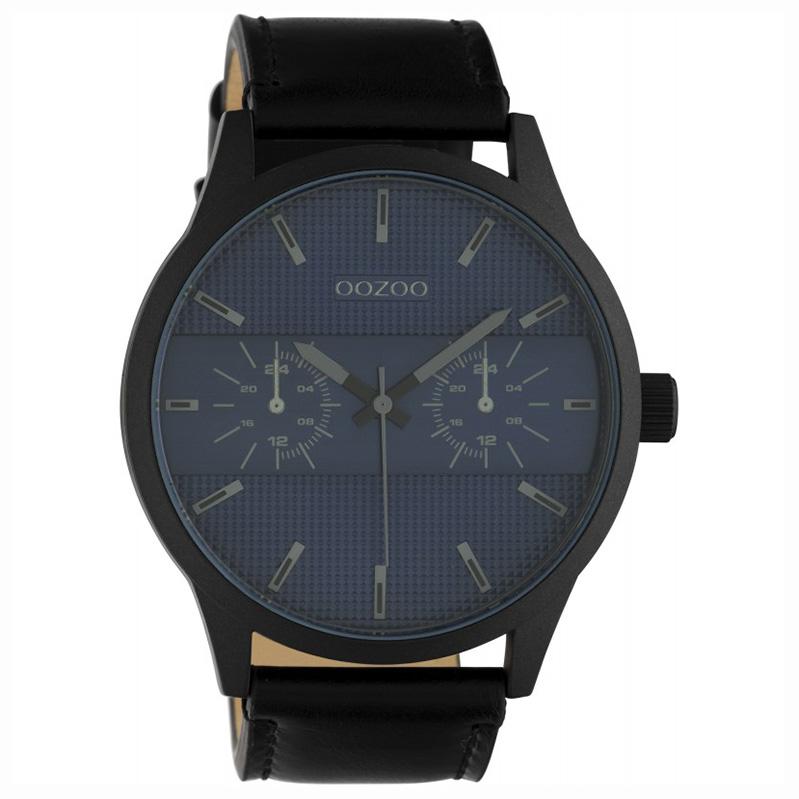 OOZOO C10539 Horloge Timepieces staal/leder darkblue-black 48 mm