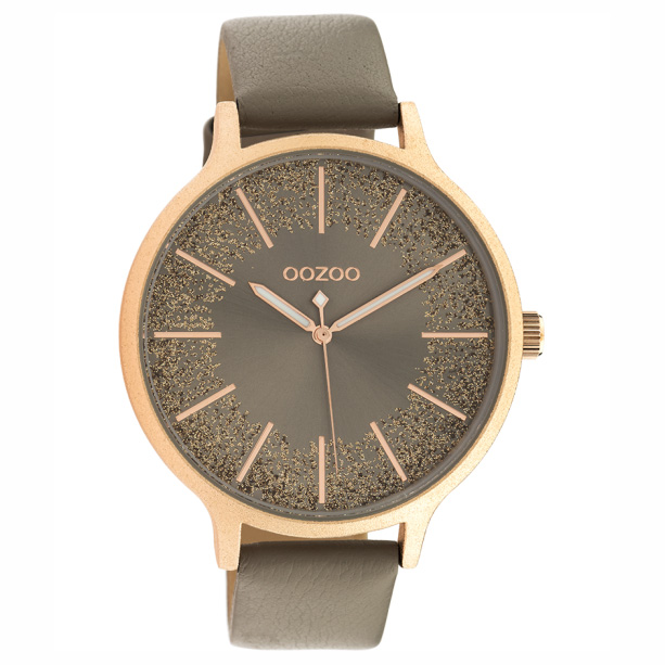 OOZOO C10567 Horloge Timepieces staal leder rosekleurig taupe 44 mm