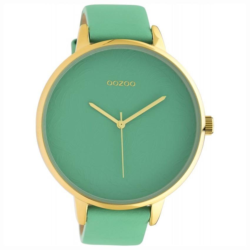 OOZOO C10573 Horloge Timepieces Biscay staal/leder Green 48 mm