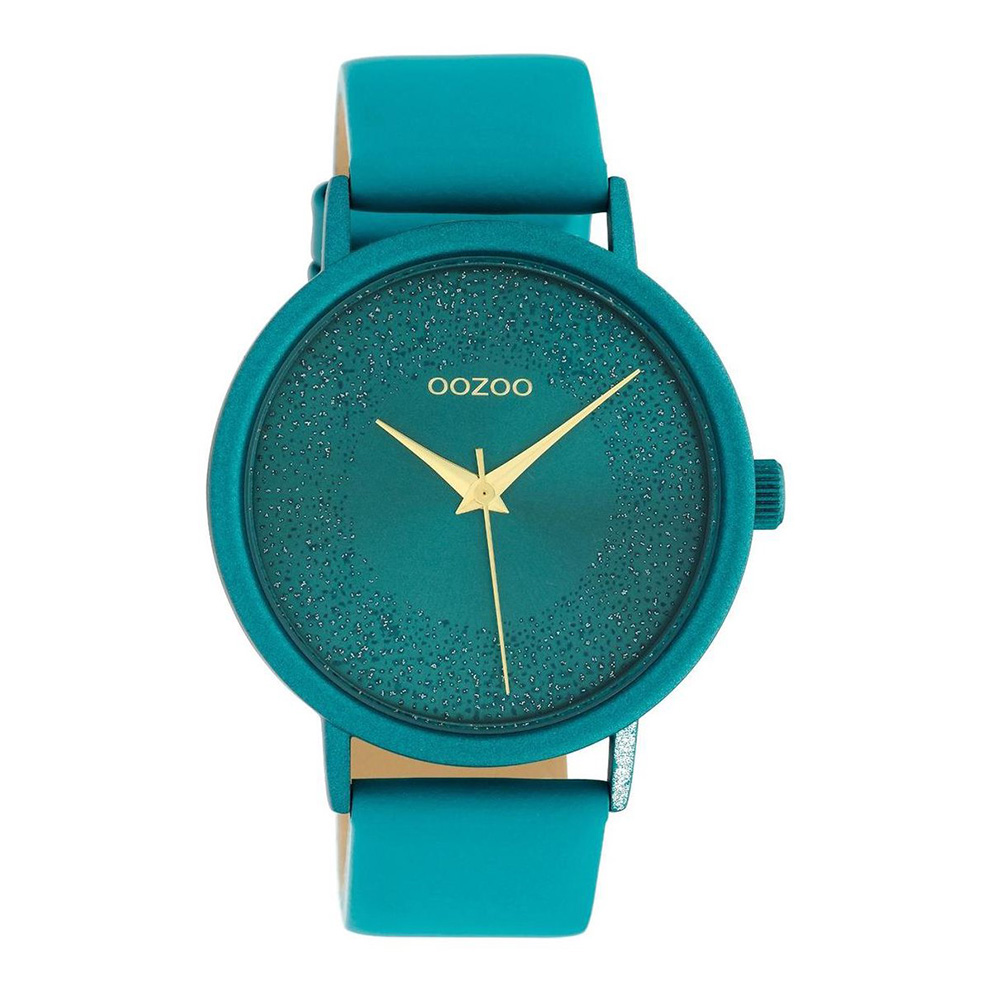 OOZOO C10581 Horloge Timepieces aluminium/leder viridian green 42 mm