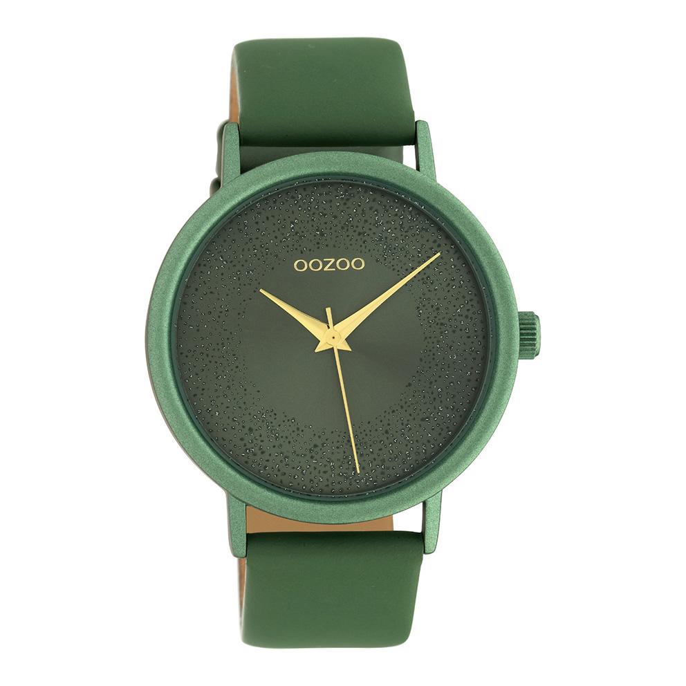 OOZOO C10582 Horloge Timepieces aluminium/leder lillypad green 42 mm