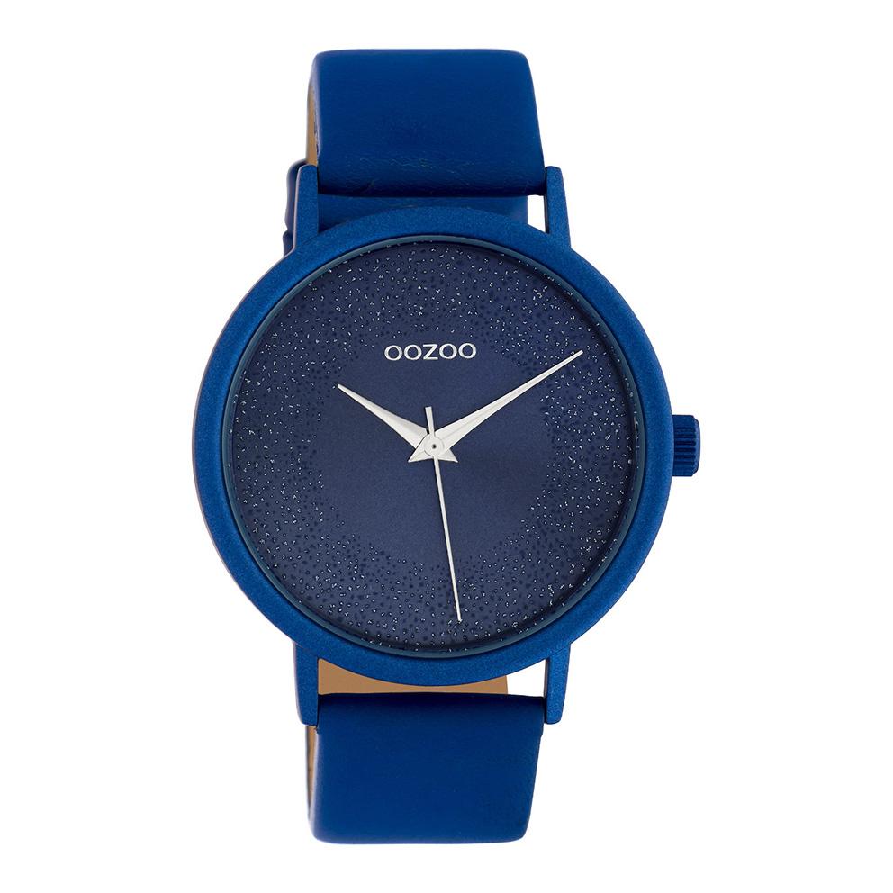 OOZOO C10583 Horloge Timepieces aluminium/leder classic blue 42 mm