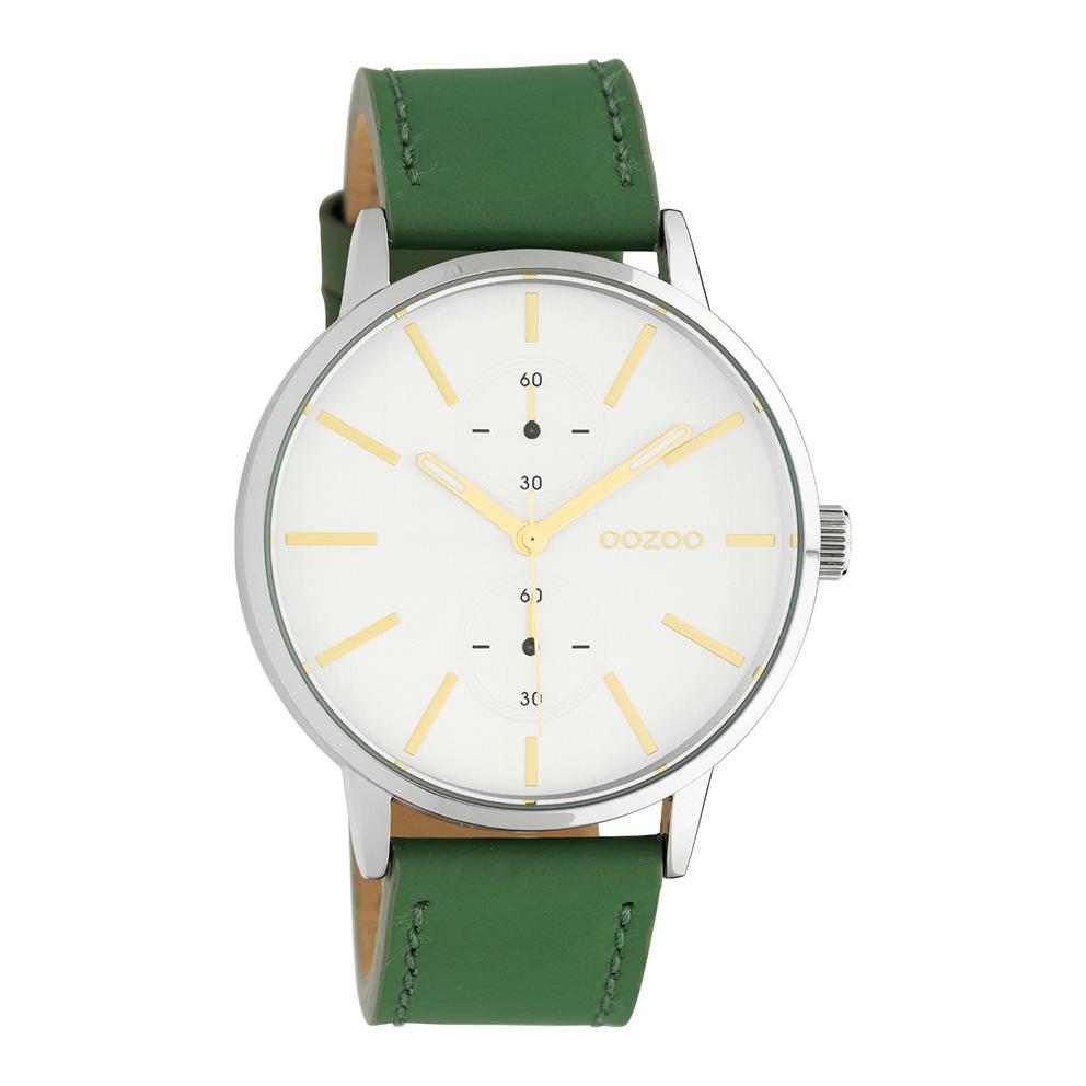 OOZOO C10586 Horloge Timepieces staal/leder zilverkleurig-lillipad groen 42 mm