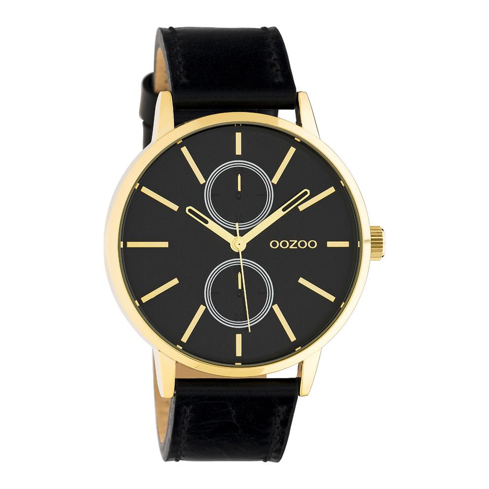 OOZOO C10589 Horloge Timepieces staal leder goudkleurig zwart 42 mm