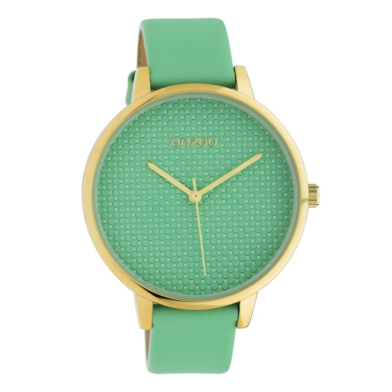 OOZOO C10593 Horloge Timepieces staal leder biscay green 42 mm