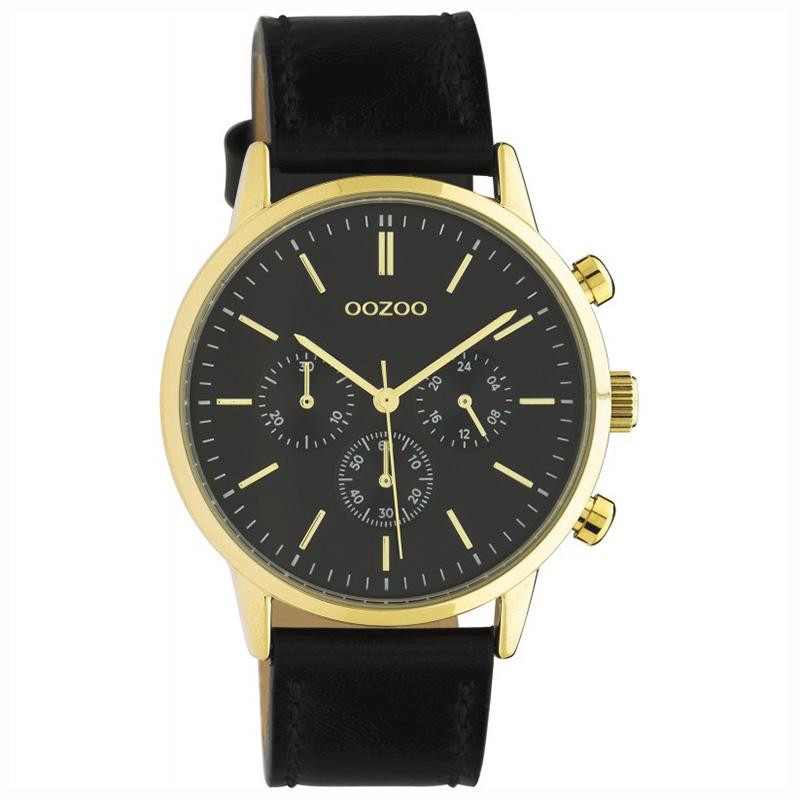OOZOO C10598 Horloge Timepieces staal/leder black 40 mm