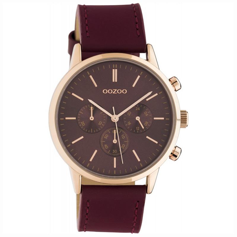 OOZOO C10599 Horloge Timepieces staal/leder Biking Red 40 mm