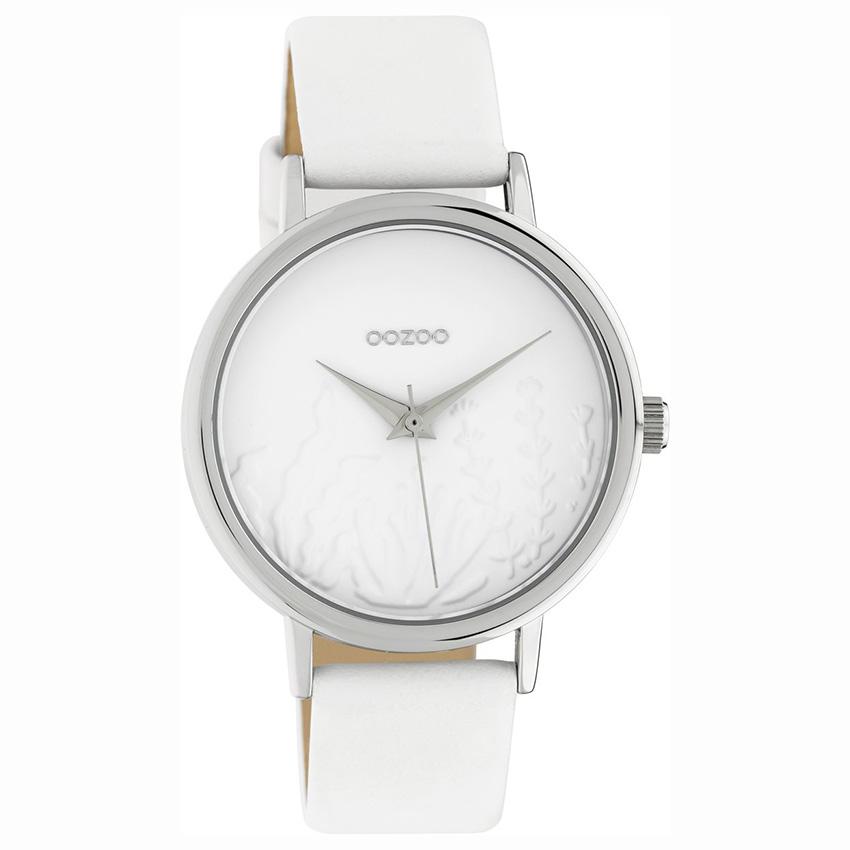 OOZOO C10600 Horloge Timepieces staal/leder white 36 mm