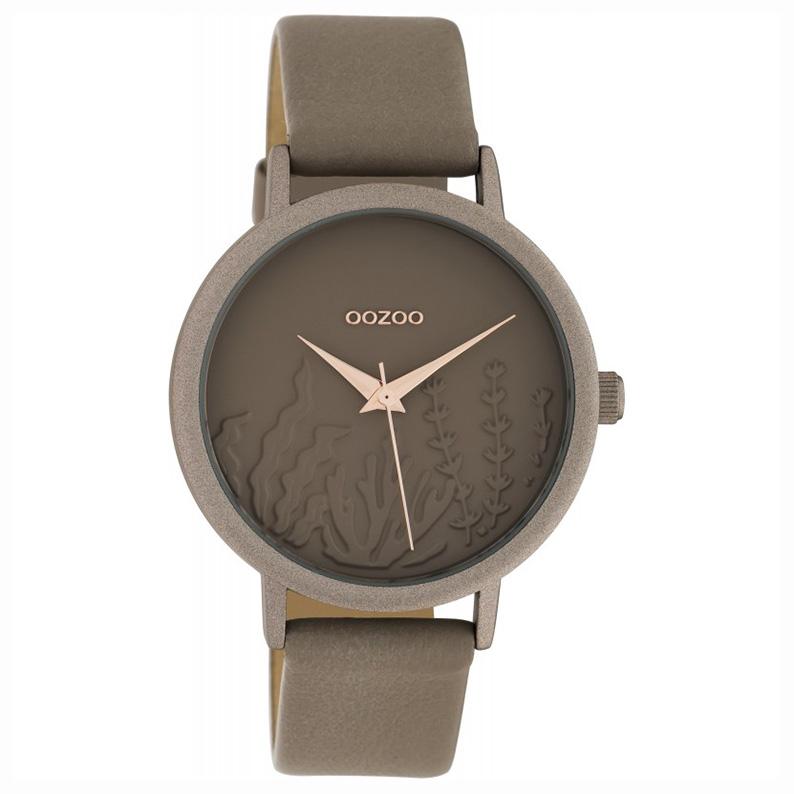 OOZOO C10603 Horloge Timepieces aluminium/leder taupe 36 mm