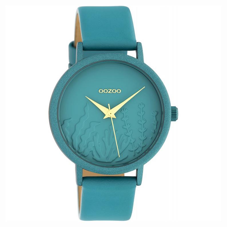 OOZOO C10606 Horloge Timepieces aluminium/leder viridiangreen 36 mm