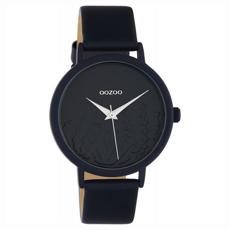 OOZOO C10607 Horloge Timepieces aluminium/leder darkblue 36 mm