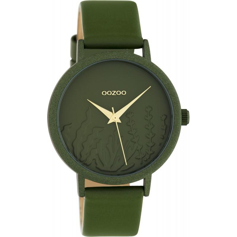 OOZOO C10608 Horloge Timepieces aluminium leder olivegreen 36 mm
