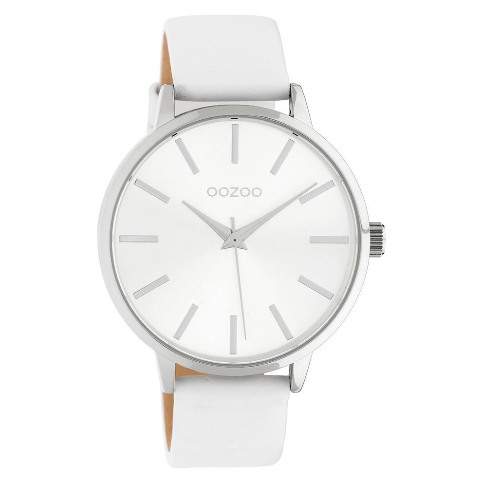 OOZOO C10610 Horloge Timepieces staal/leder zilverkleurig-wit 42 mm