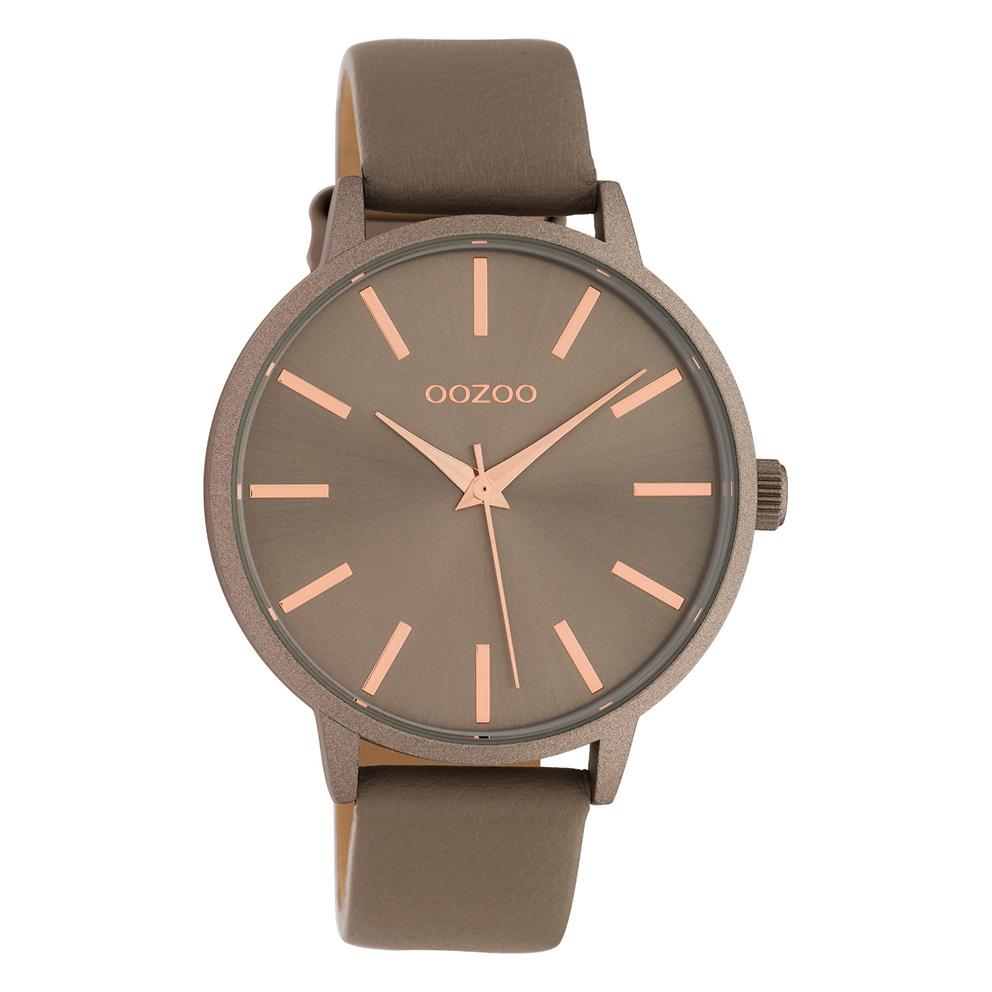 OOZOO C10612 Horloge Timepieces aluminium leder taupe 42 mm
