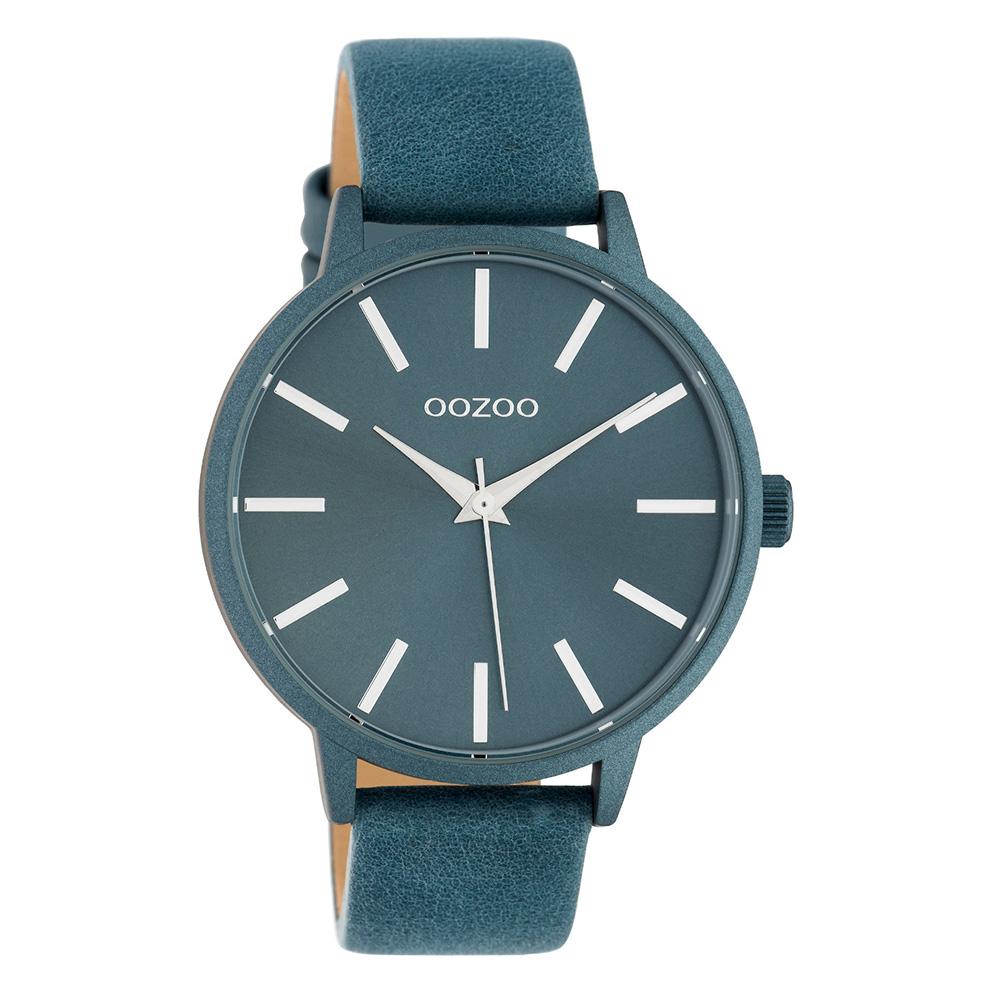 OOZOO C10615 Horloge Timepieces aluminium/leder blauw 42 mm