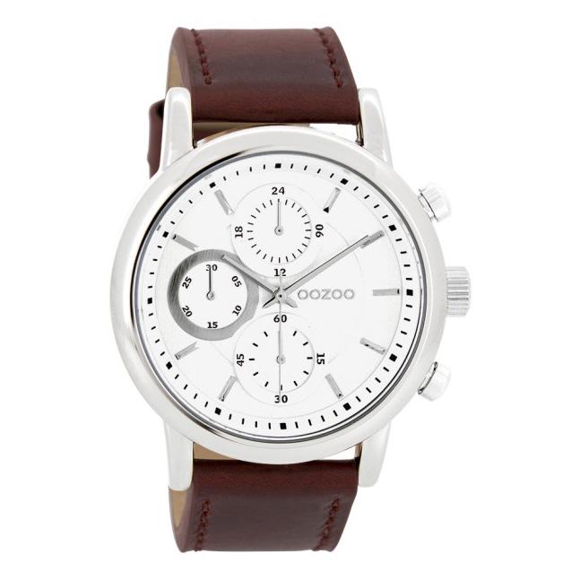 OOZOO C10642 Horloge Timepieces staal ledere zilverkleurig bruin 45 mm