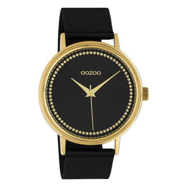 OOZOO C10648 Horloge Timepieces Mesh staal goudkleurig zwart 42 mm
