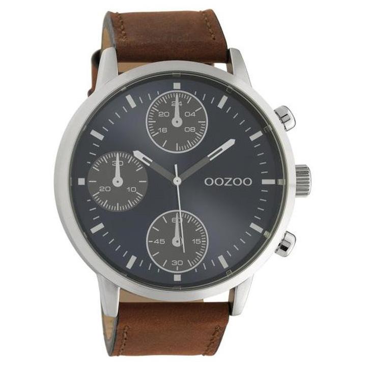 OOZOO C10665 Horloge Timepieces staal leder bruin blauw 50 mm