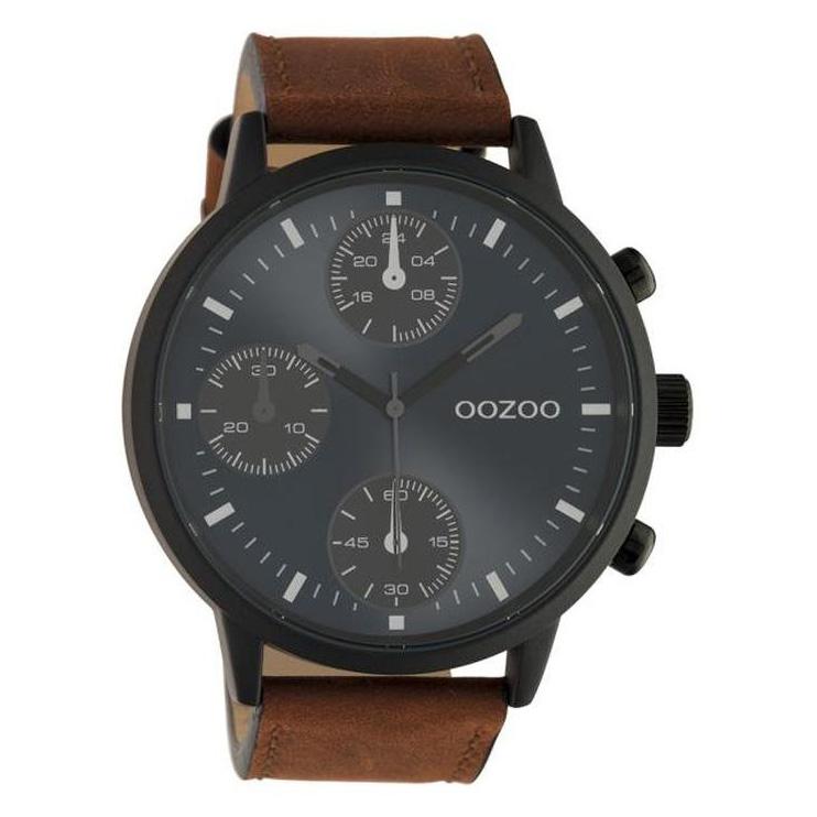 OOZOO C10666 Horloge Timepieces staal/leder bruin-blauw 50 mm