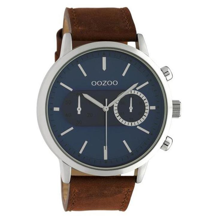 OOZOO C10670 Horloge Timepieces staal leder bruin blauw 50 mm