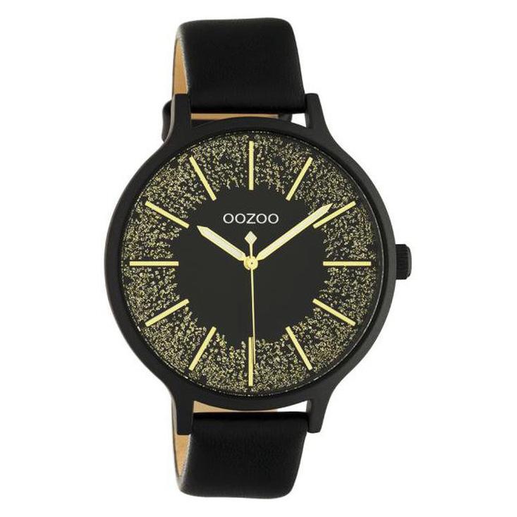 OOZOO C10679 Horloge Timepieces staal leder zwart goudkleurig 44 mm