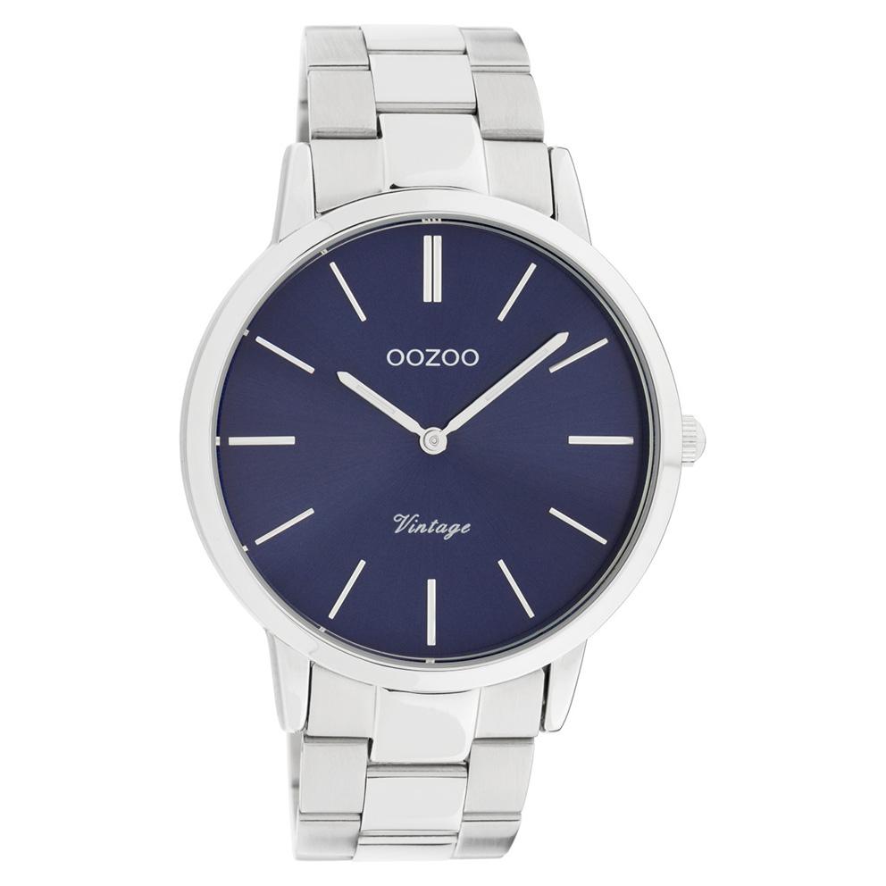 OOZOO C20020 Horloge Vintage staal zilverkleurig blauw 42 mm