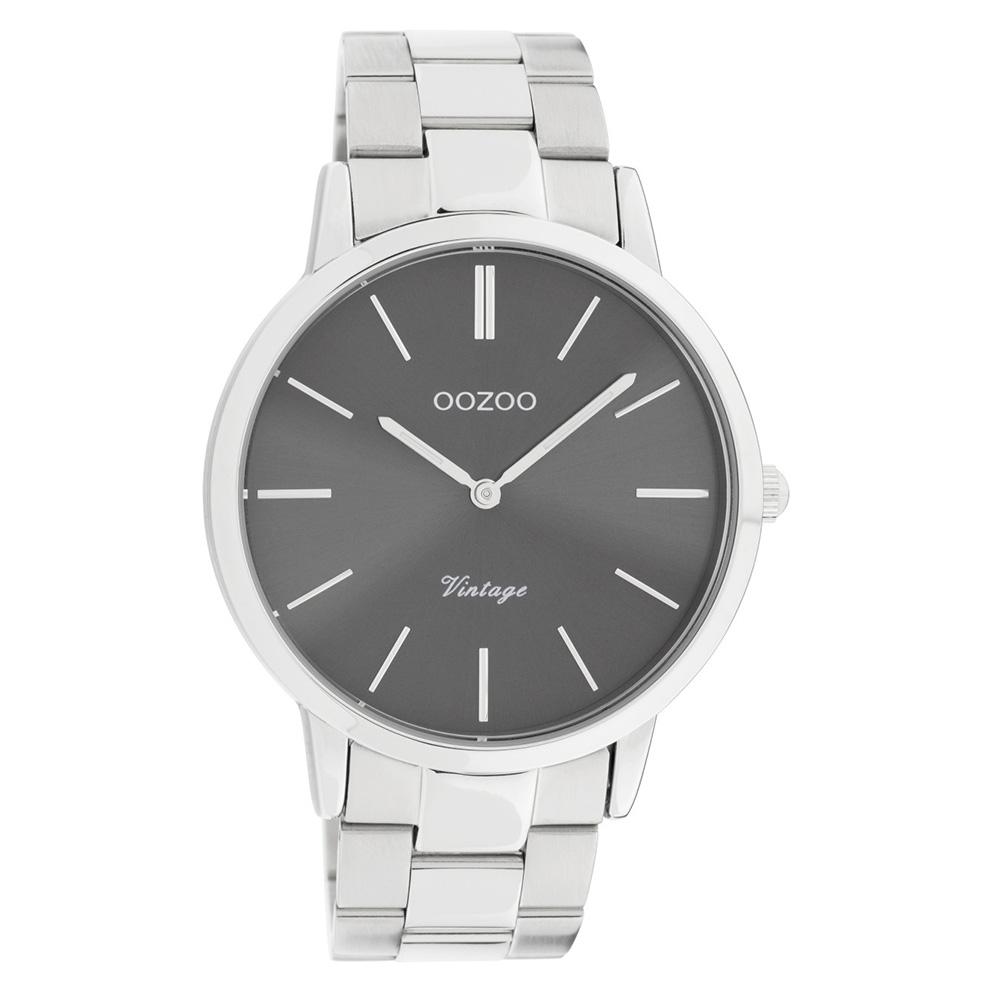 OOZOO C20021 Horloge Vintage staal zilverkleurig-grijs 42 mm