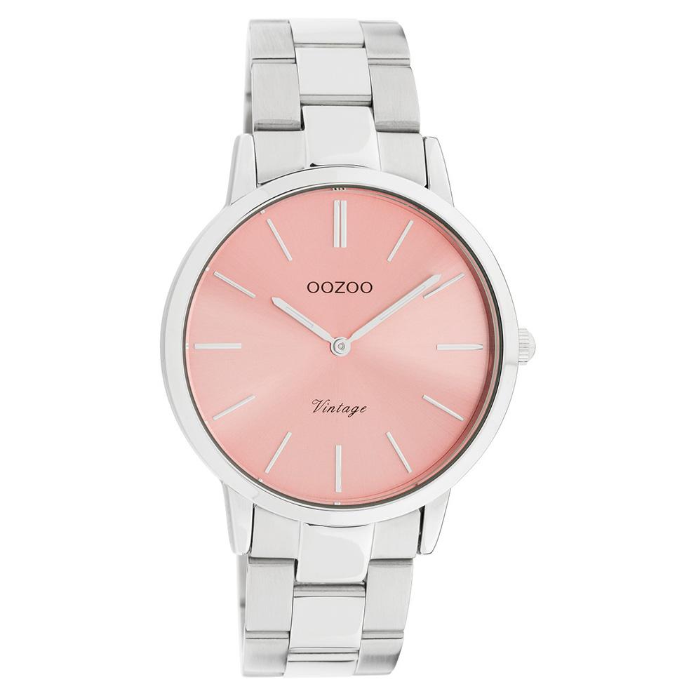 OOZOO C20028 Horloge Vintage staal zilverkleurig-roze 38 mm