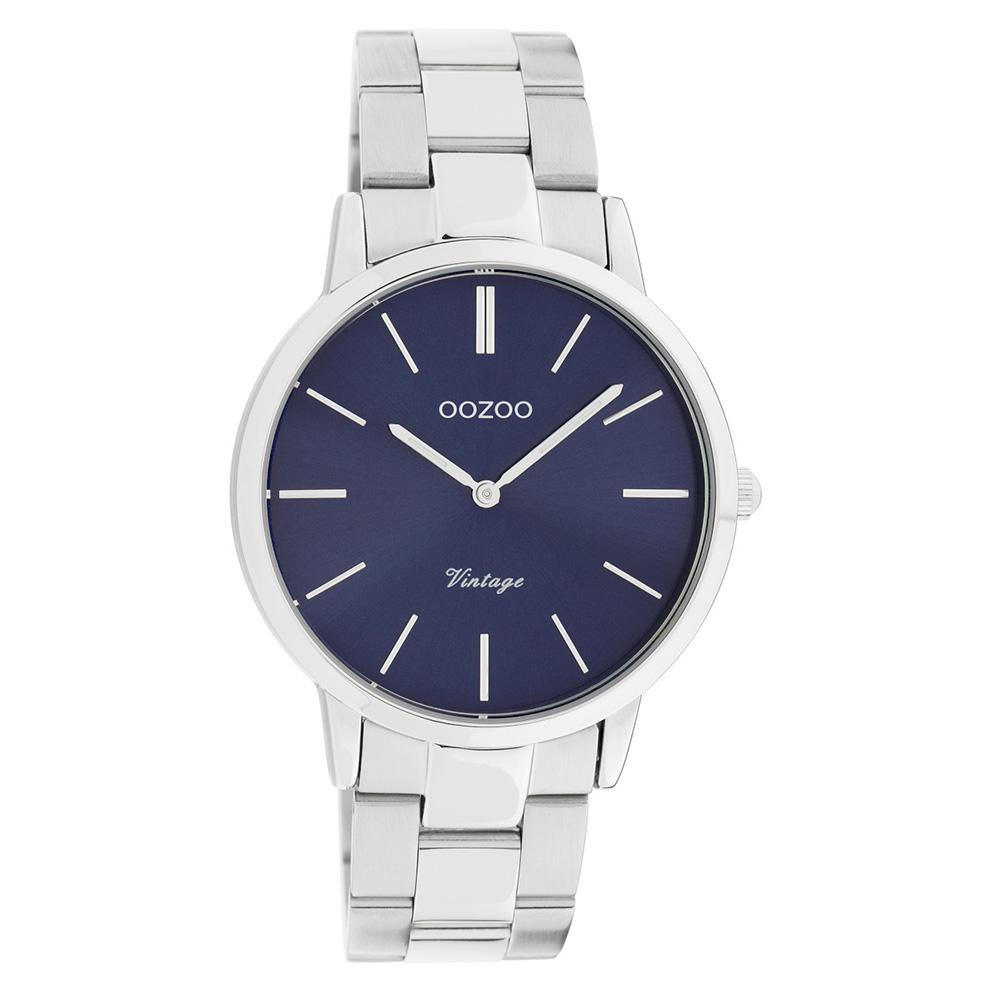 OOZOO C20029 Horloge Vintage staal zilverkleurig blauw 38 mm