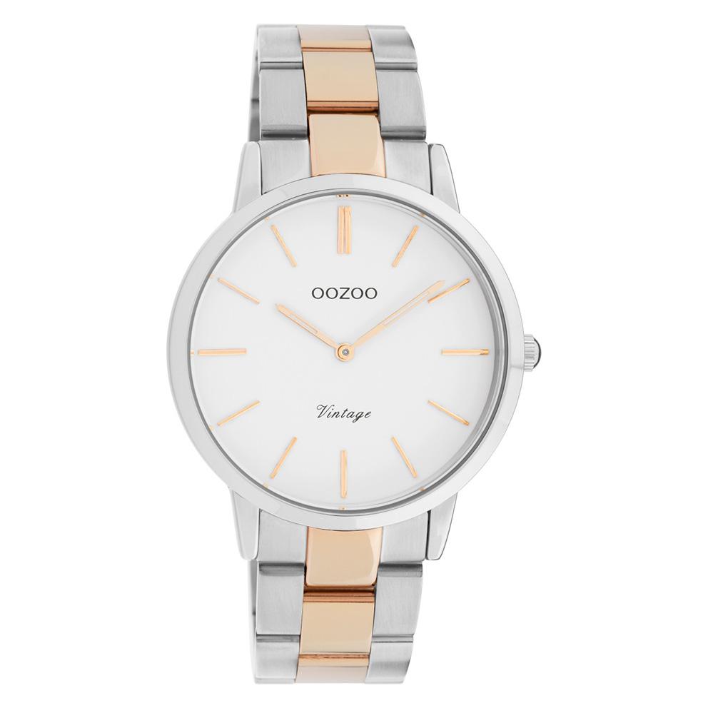 OOZOO C20033 Horloge Vintage staal zilver- en rosekleurig-wit 38 mm