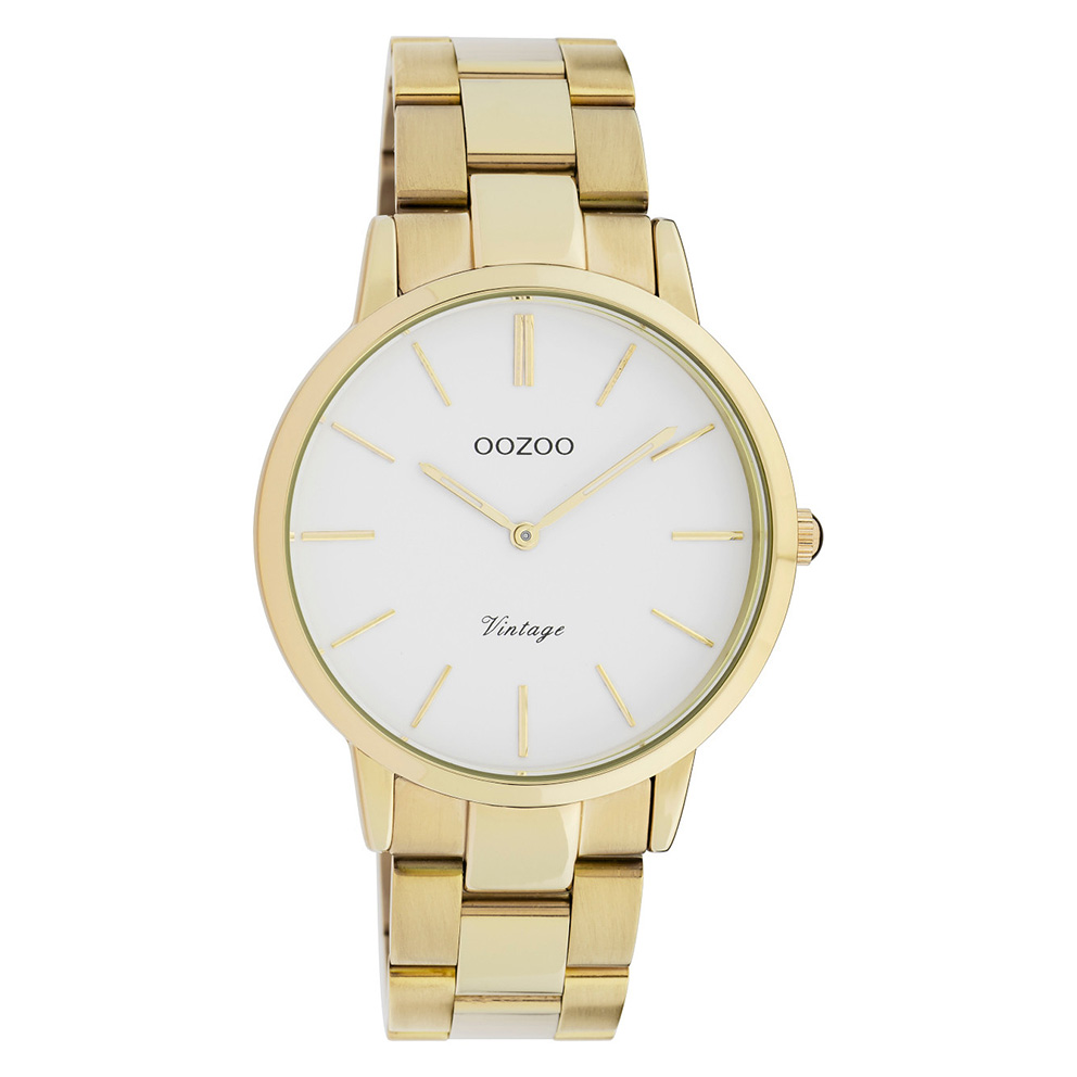 OOZOO C20034 Horloge Vintage staal goudkleurig-wit 38 mm
