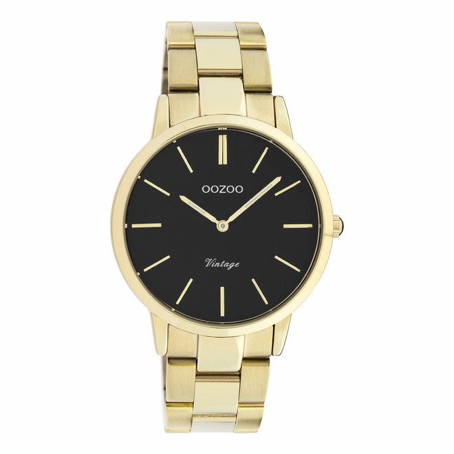 OOZOO C20035 Horloge Vintage staal goudkleurig-zwart 38 mm