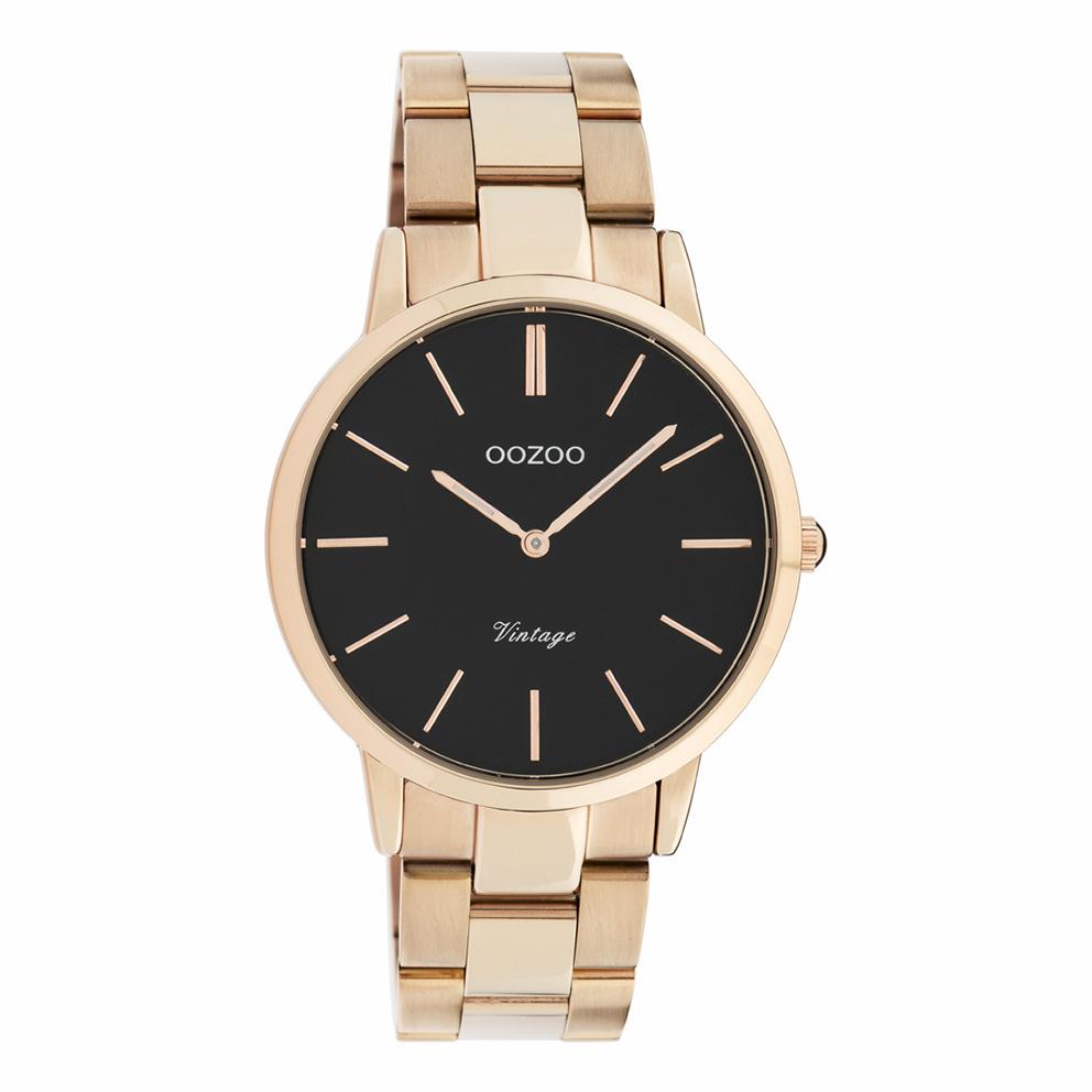 OOZOO C20037 Horloge Vintage staal rosekleurig-zwart 38 mm