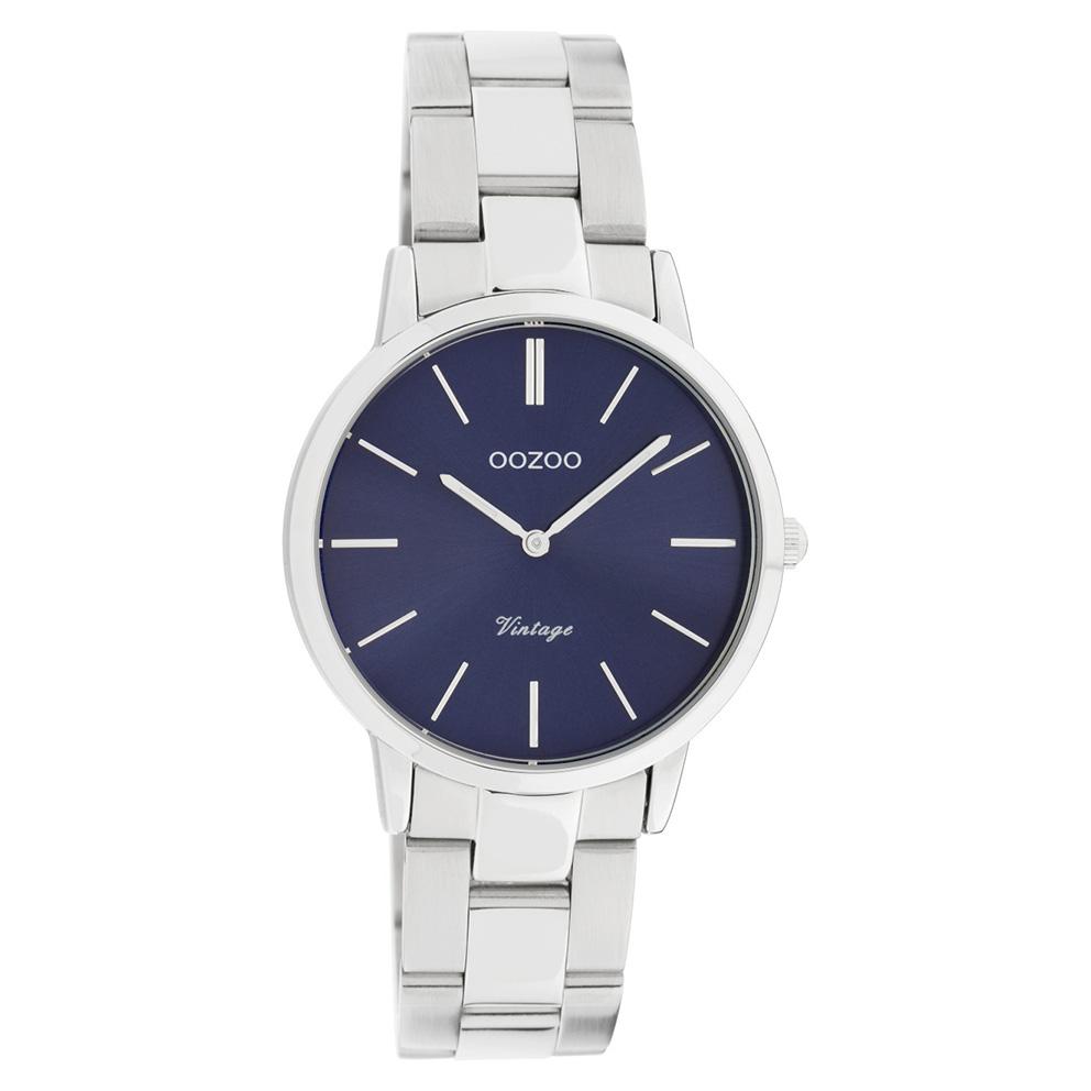 OOZOO C20041 Horloge Vintage staal zilverkleurig blauw 34 mm