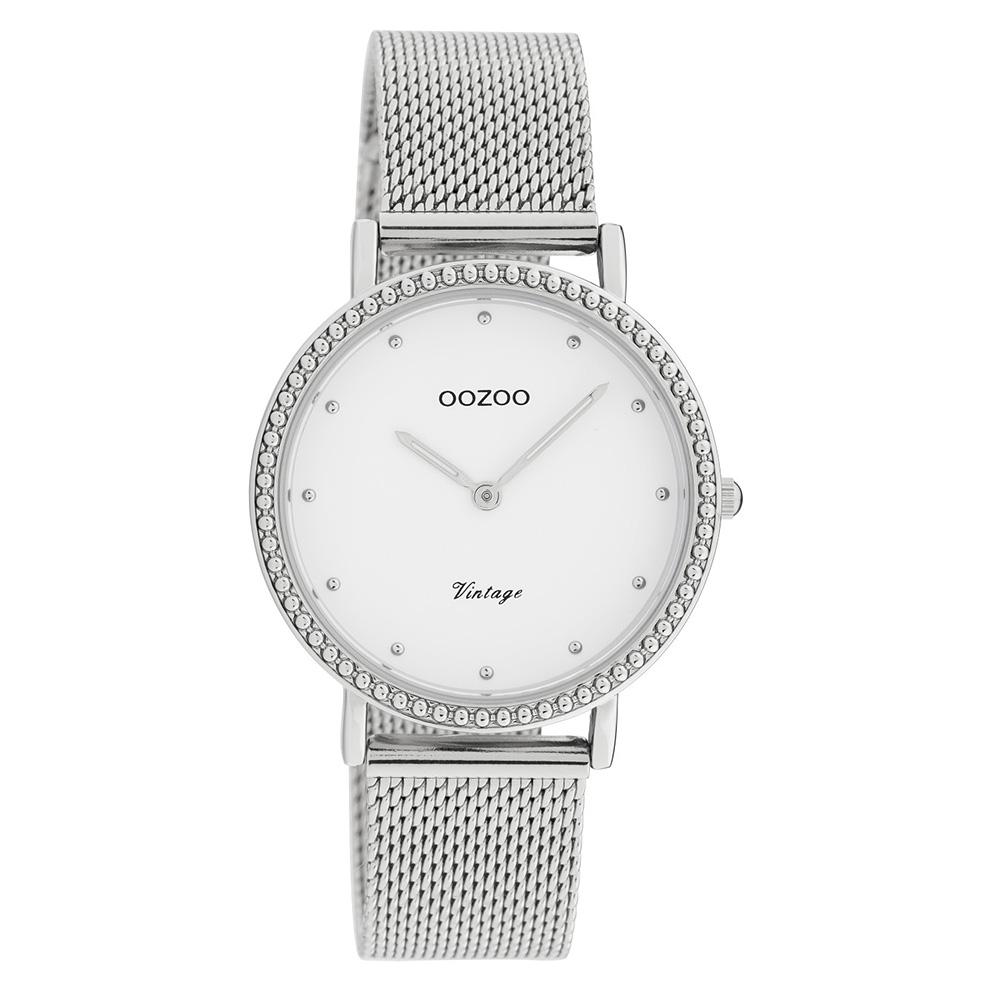 OOZOO C20050 Horloge Vintage Mesh zilverkleurig 34 mm