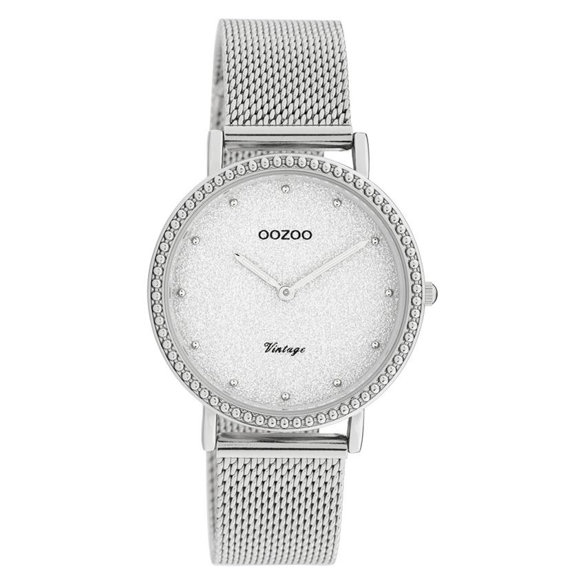 OOZOO C20051 Horloge Vintage Mesh silver-glitter 34 mm