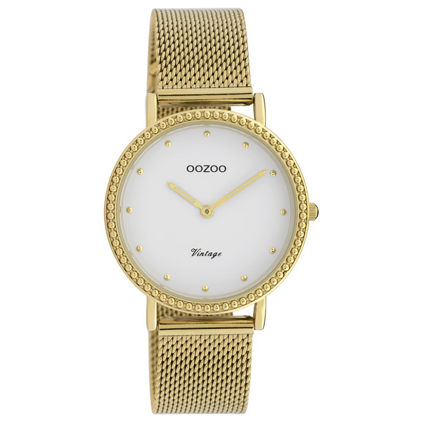 OOZOO C20054 Horloge Vintage Mesh goudkleurig wit 34 mm