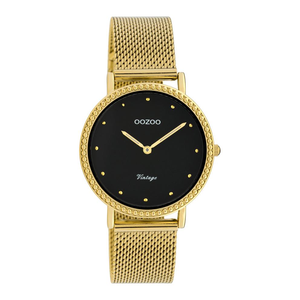 OOZOO C20055 Horloge Vintage Mesh goudkleurig-zwart 34 mm