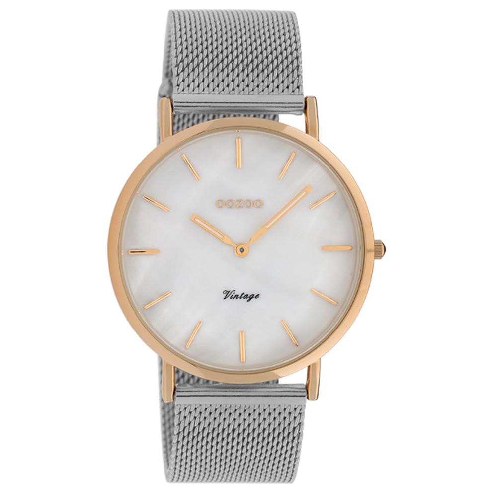 OOZOO C20068 Horloge Vintage Mesh zilver-en rosekleurig 40 mm